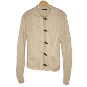 J. Crew Handknit Wool Cable Knit Cardigan Small Cream Leather Toggle Cottagecore